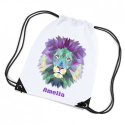 Lion Design white sports nylon drawstring gym sack pack and rope bag.