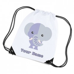 Elephant, cute little elephant, white sports nylon drawstring gym sack pack and rope bag.