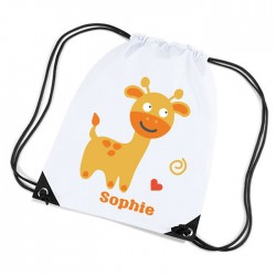 Cute Little Giraffe white sports nylon drawstring gym sack pack and rope bag.