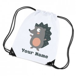Cute Little Hedgehog white sports nylon drawstring gym sack pack and rope bag.