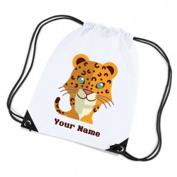 leopard, cute little leopard white sports nylon drawstring gym sack pack and rope bag.