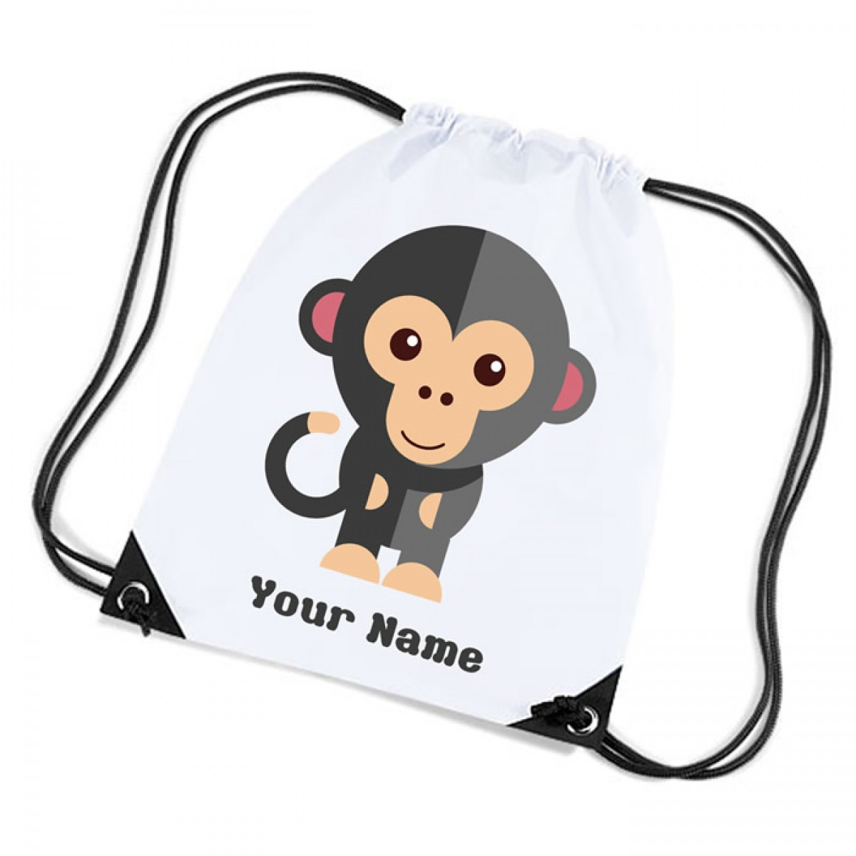 Cartoon Monkey, Personalised Sports Nylon Draw String Gym Sack Pack U0026 Rope  Bag.