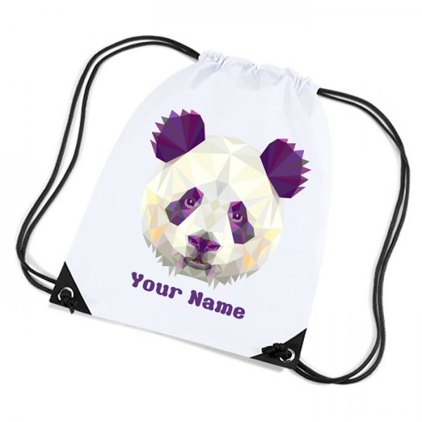 Unusual Panda Head Design white sports nylon drawstring gym sack pack and rope bag.