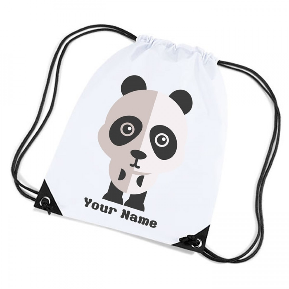 Cute Panda Design white sports nylon drawstring gym sack pack and ...