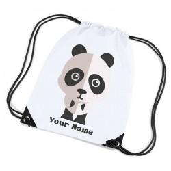 Cute Panda Design white sports nylon drawstring gym sack pack and rope bag.