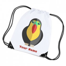 Cartoon Parrot, Personalised Sports Nylon Draw String Gym Sack Pack & Rope Bag.