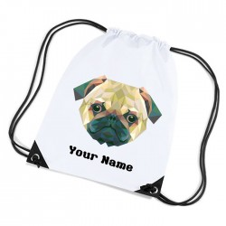 Pug Face Pixelated Design white sports nylon drawstring gym sack pack and rope bag.