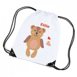 Cute Teddy Bear Design white sports nylon drawstring gym sack pack and rope bag.