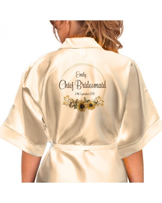 Personalised Satin Kimono Robe Printed with a pretty border of sunflowers