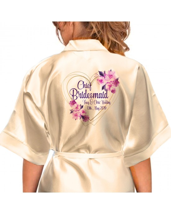 Personalised Elegant Satin Robe For All The Wedding Party Bride, Bridesmaid, Flower Girl Flowers/ Feather Boarder