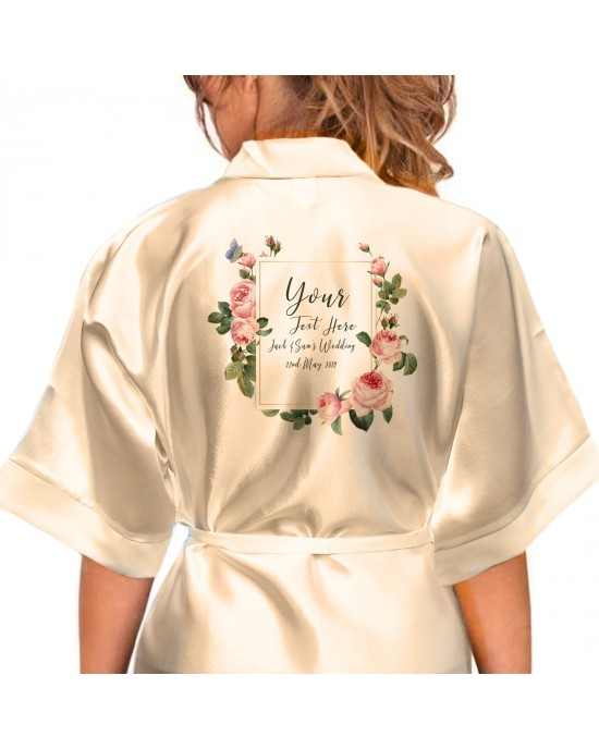 Personalised Elegant Satin Robe For All The Wedding Party Bride, Bridesmaid, Flower Girl Flowers/ Butterfly