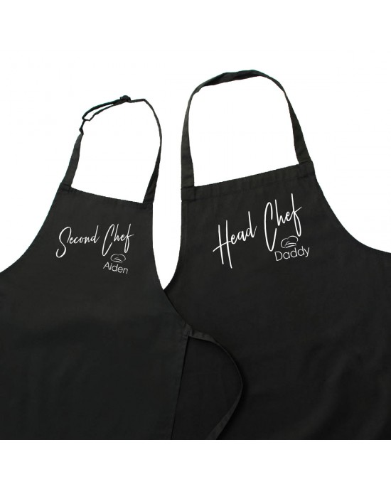 Personalised Cooking Apron Set. Head Chef & Second Chef Dad & Kids Cooking Apron