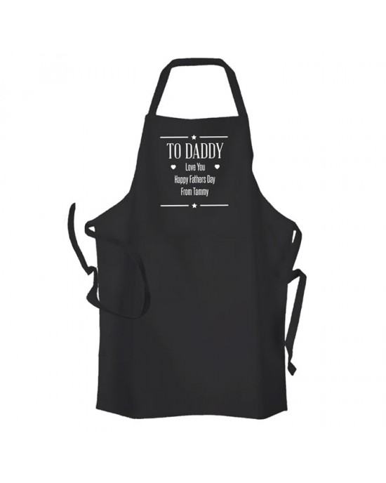 Personalised Fathers Day Message, Cooking, Apron Black. Change any Text.