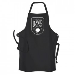 Men's Personalised Grill Master BBQ & Grill, Cooking, Apron Black. Change any Text For Your Message.