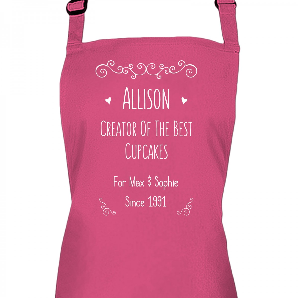 Fun Text Design Personalised Colour Apron Ladies Fun Chef Kitchen ...