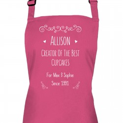 Fun Text Design Personalised Colour Apron Ladies Fun Chef Kitchen Cooking Dinner, Quality Apron
