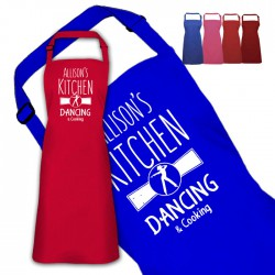 Kitchen Is for danceing Personalised Colour Apron Ladies Fun Chef Kitchen Cooking Dinner, Quality Apron
