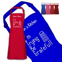 Fun Be Gratefull Design Personalised Colour Apron Ladies Fun Chef Kitchen Cooking Dinner, Quality Apron
