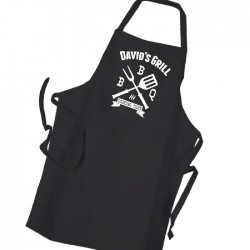 Personalised Man's BBQ & Grill, Summer Cooking, Apron Black. Premium Aprons in a lovely 'Heavy cotton like fabric.