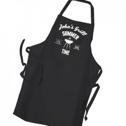 Man's BBQ & Grill Personalised , Summer Cooking, Apron Black. Premium Aprons in a lovely 'Heavy cotton like fabric.