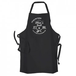 Man's BBQ & Grill, Summer Cooking, Personalised Apron Black. Premium Aprons in a lovely 'Heavy cotton like fabric.