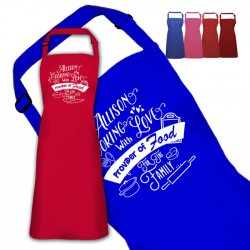 Cooking With Love Personalised Colour Apron Ladies Fun Chef Kitchen Cooking Dinner, Quality Apron