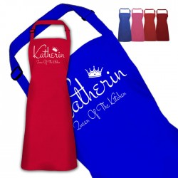 Queen Of The Kitchen Personalised Colour Apron Ladies Fun Chef Kitchen Cooking Dinner, Quality Apron In Lots Of Colours