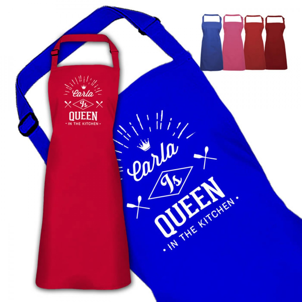 Queen In The Kitchen Personalised Colour Apron Ladies Fun Chef ...