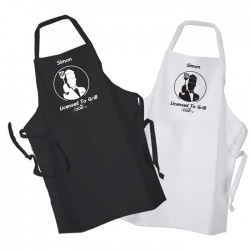 Mens Personalised Licensed to Grill Kitchen Cooking Apron Personalised with A Name Of Your Choice Black Or White