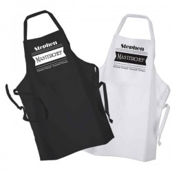 Master Chef Personalised BBQ & Grill, Cooking, Personalised Apron Black Or White.