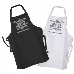 Personalised Your Name. Ornate BBQ & Grill, Cooking, Personalised Apron Black Or White.