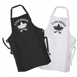 Star Baker Personalised Unisex Star Baker Black Kitchen Cooking Apron Personalised with A Name Of Your Choice Black or White Apron.