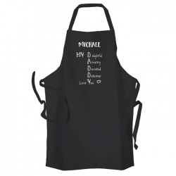 Daddy Adjective, Fathers day gift,  Personalised BBQ & Grill, Summer Cooking, Apron Black. Premium Aprons in a lovely 'Heavy cotton like fabric.