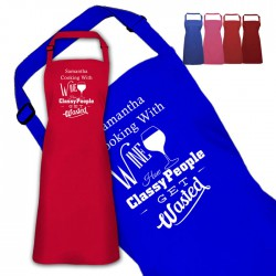 Cooking With Wine Personalised Colour Apron Ladies Fun Chef Kitchen Cooking Dinner, Quality Apron