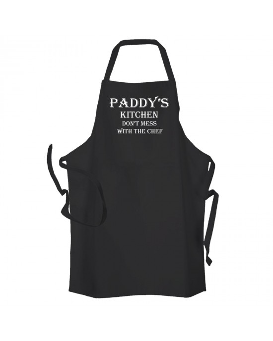 Head Chef Personalised with any name Apron Black. Mens Personalised BBQ Kitchen Cooking Apron
