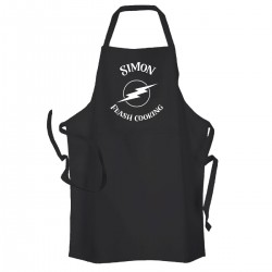 Flash Cooking, Man's Personalised BBQ & Grill,  Apron Black. Premium Aprons in a lovely 'Heavy cotton like fabric.