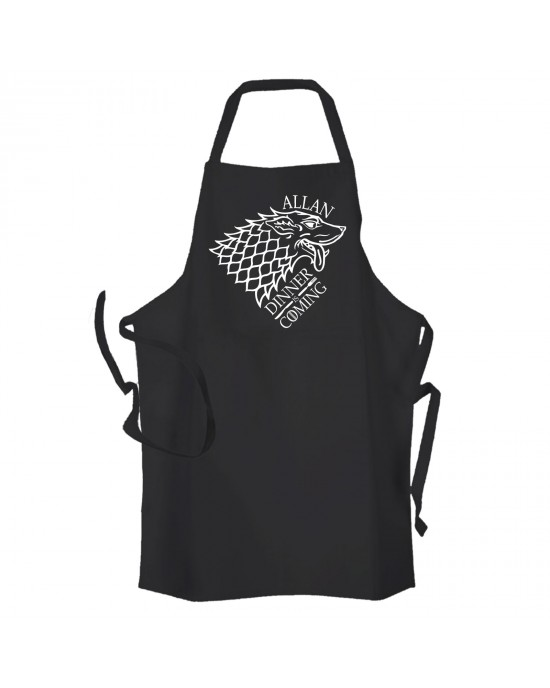 Dinner Is Coming, Game Of Throwns Inspired Personalised BBQ & Grill, Summer Cooking, Apron Black.