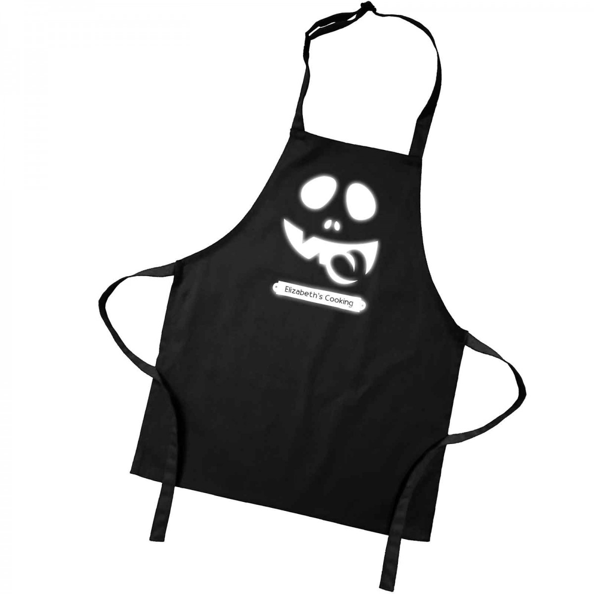 Glow in the dark halloween cooking apron. A personalised ...