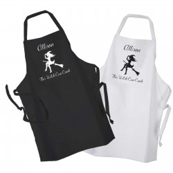 This Witch Can Cook Design, Apron Black Or White. Perfect for Halloween Cooking Change any Text For Your Message.