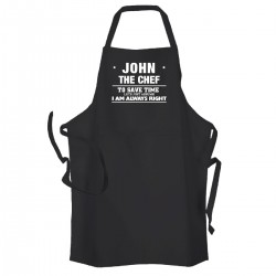 Always Right chef Personalised Adult cooking apron.