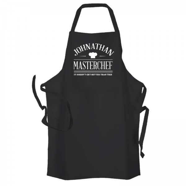Master Chef Personalised Kitchen Apron Black.