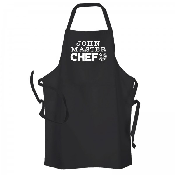 Master Chef Personalised Cooking Apron Black.