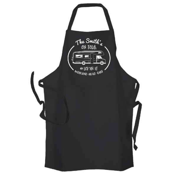 Motor home camping chef  Personalised Kitchen Apron Black.