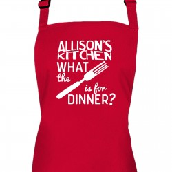 Ladies Personalised What the fork is for dinner Kitchen Cooking Apron.