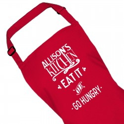 Ladies Personalised Eat It Or Go Hungry Kitchen Cooking Apron.
