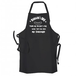 Personalised Black Apron, Fun Joke Apron, Wait 'till you see my sausage