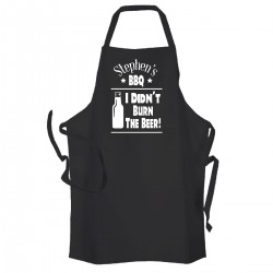 Personalised fun BBQ apron, I didn't burn the beer, great gift for the summer BBQ chef.
