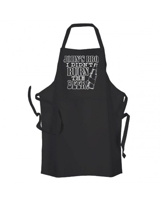 Personalised Adult cooking apron. I didn't Burn The Beer Black Apron