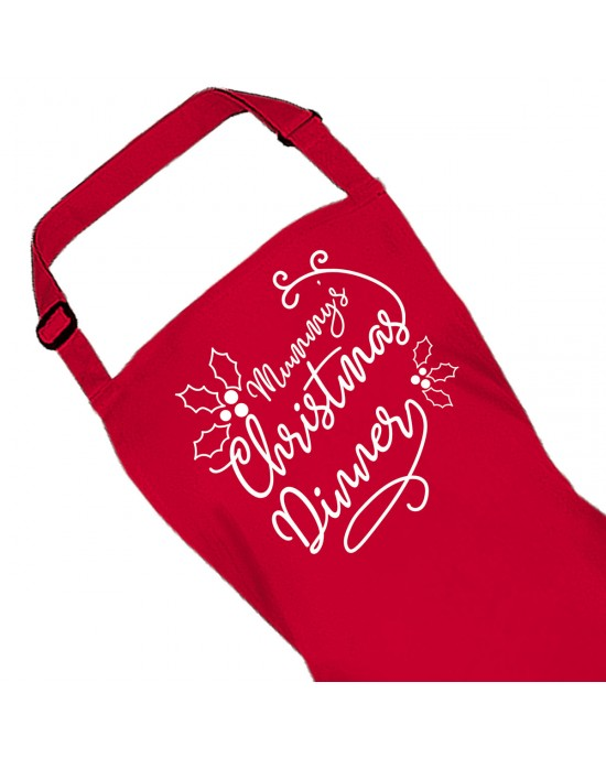 Personalised Ladies Apron. Christmas Dinner Red Apron, Custom Printed. Great Gift For Mum.