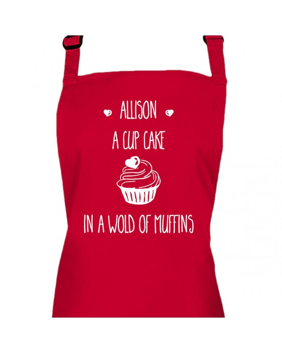 Personalised Ladies Apron. Cup Cake In A World Or Muffins, Custom Printed Colour Apron.